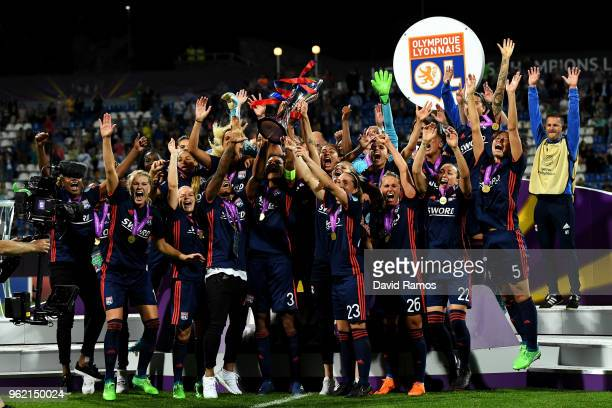 Lyon Women celebrate with the trophy during the UEFA Womens Champions League Final between VfL Wolfsburg and Olympique Lyonnais on May 24 2018 in...