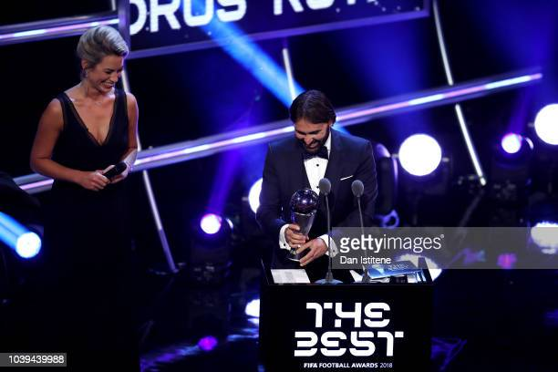 Lyon Women's Manager Reynald Pedros receives the trophy for The Best FIFA Women's Coach 2018 during the The Best FIFA Football Awards Show at Royal...