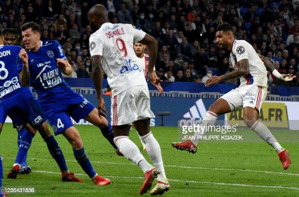 Lyon's Brazilian defender Emerson scores a goal during the French L1 football match between Lyon and Troyes in Decines-Charpieu, on September 22,...