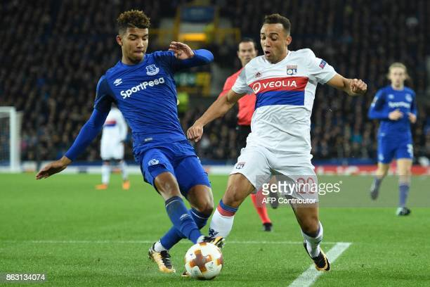 Lyon's Brazilian defender Fernando Marcal is fouled in the area by Everton's English defender Mason Holgate , giving Lyon a penalty from which they...