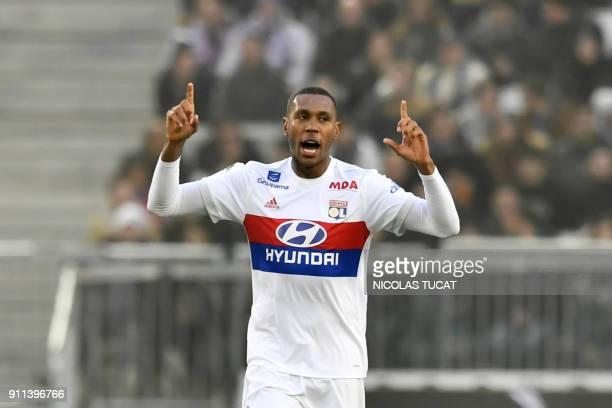 Lyon's Brazilian defender Marcelo celebrates after scoring a goal during the French Ligue 1 football match between Bordeaux and Lyon on January 28...
