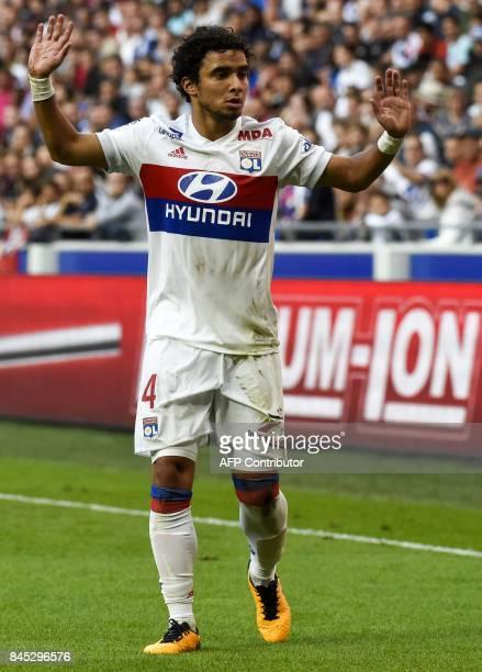 Lyon's Brazilian defender Rafael da Silva reacts during the French L1 football match Lyon vs Guingamp , on September 10, 2017 at the Groupama stadium...
