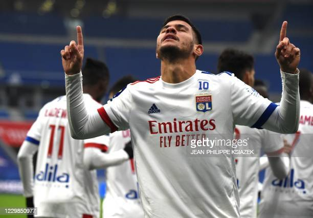 Lyon's Brazilian midfielder Bruno Soares celebrates after scoring during the French L1 football match between Lyon and Reims on November 29 2020 at...