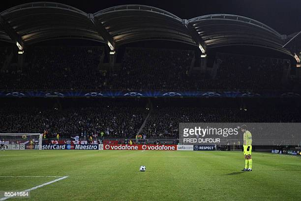 Lyon's Brazilian midfielder Juninho concentrates prior a free kick during the Champion's League football match Lyon vs Barcelona on February 24 2009...