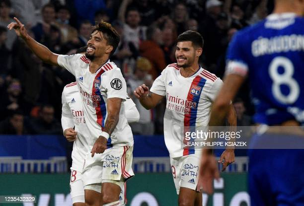 Lyon's Brazilian midfielder Lucas Paqueta celebrates after scoring a goal during the French L1 football match between Lyon and Troyes in...