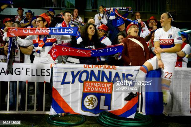 Lyon's British defender Lucy Bronze celebrates her team's victory with fans at the end of the UEFA Women's Champions League quarterfinal second leg...