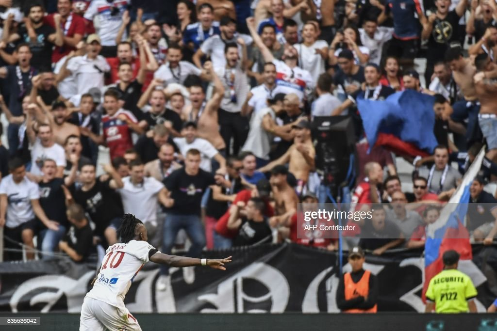 Lyon's Burkinabe forward Bertrand Traore celebrates after scoring a goal during the L1 football match Olympique Lyonnais (OL) vs FC Girondins de Bordeaux (FCGB), on August 19, 2017 at the Groupama stadium in Décines-Charpieu near Lyon, southeastern France. /