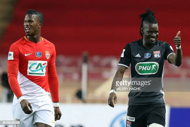 Lyon's Burkinabe forward Bertrand Traore thumbs up as he celebrates after scoring a goal during the French Cup round of 16 football match between...