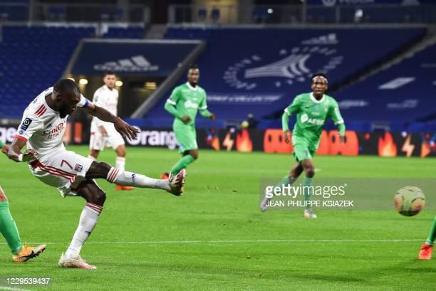 Lyon's Camerounian forward Toko Ekambi kicks the ball during the French L1 football match between Lyon and SaintEtienne on November 8 at the Groupama...