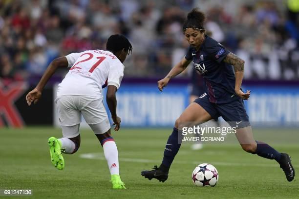 Lyon's Canadian defender Kadeisha Buchanan vies with Paris SaintGermain's Brazilian striker Cristiane during the UEFA Women's Champions League final...