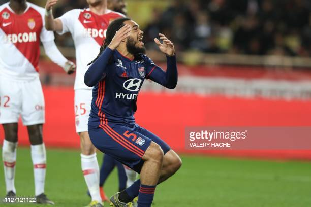 "Lyon's defender Jason Denayer reacts during the French L1 football match Monaco vs Lyon on February 24, 2019 at the ""Louis II Stadium"" in Monaco."
