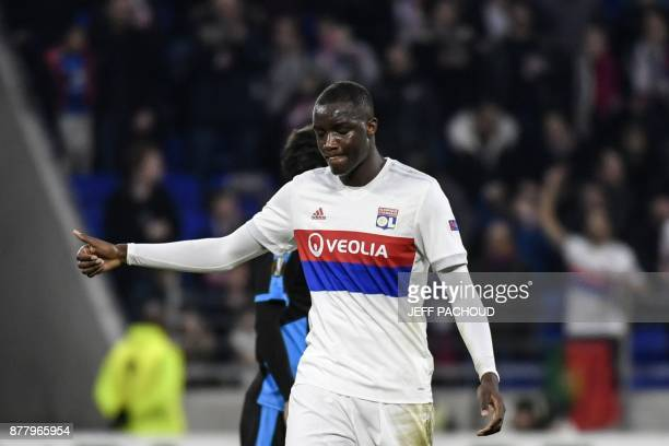 Lyon's defender Mouctar Diakhaby celebrates after scoring during the UEFA Europa League football match Olympique Lyonnais vs Apollon Limassol on...