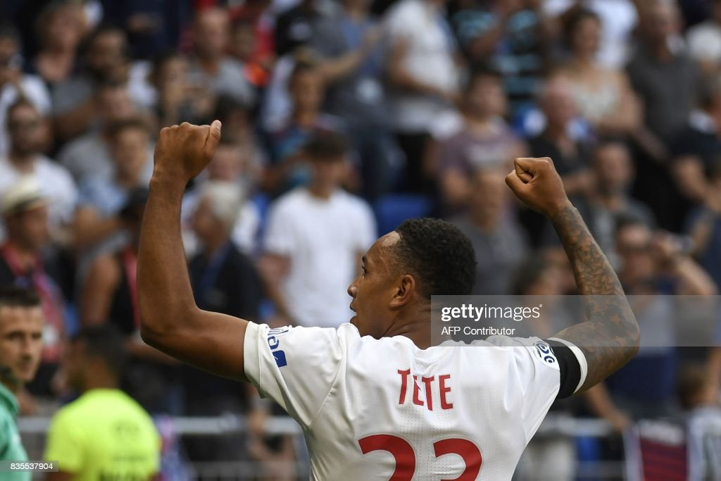 Lyon's Dutch defender Kenny Tete celebrates after scoring a goal during the L1 football match Olympique Lyonnais (OL) vs FC Girondins de Bordeaux (FCGB), on August 19, 2017 at the Groupama stadium in Décines-Charpieu near Lyon, southeastern France. /