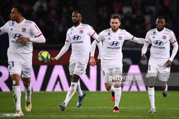 Lyon's Dutch defender Kenny Tete, Lyon's French forward Moussa Dembele, Lyon's French midfielder Lucas Tousart and Lyon's French forward Karl Toko...