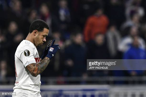 Lyon's Dutch forward Memphis Depay celebrates after scoring a goal during the Europa League football match Olympique Lyonnais vs Villarreal CF on...