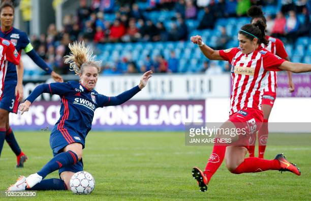 Lyon´s Eugenie Le Sommer and Andreia Rosa de Andrade of Avaldsnes vie for the ball during the UEFA Women´s Champions League football match between...