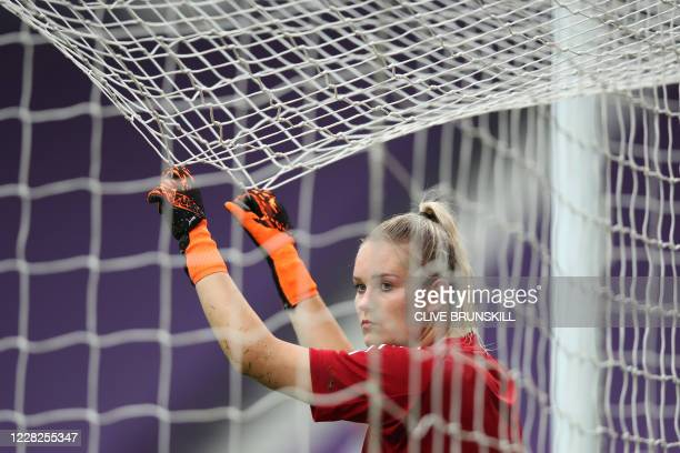 Lyon's Finnish goalkeeper Katriina Talaslahti attends a training session at the Anoeta stadium in San Sebastian on August 29, 2020 on the eve of the...