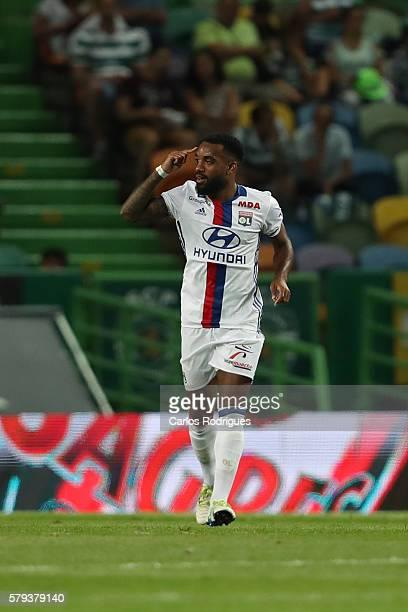 Lyon's forward Alexandre Lacazette celebrates scoring Lyon«s goal during the Friendly match between Sporting CP and Lyon at Estadio Jose Alvalade on...
