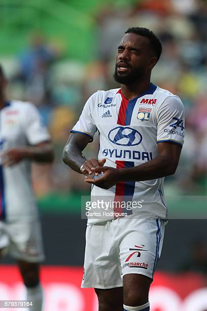 Lyon's forward Alexandre Lacazette reacts during the Friendly match between Sporting CP and Lyon at Estadio Jose Alvalade on July 23 2016 in Lisbon...