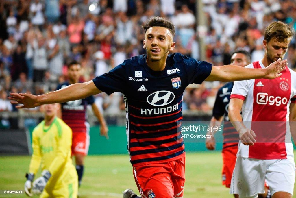 Lyon's forward Amine Gouiri celebrates after scoring a goal during a friendly football match between Olympique Lyonnais and Ajax Amsterdam on July 18, 2017 at the Pierre Rajon stadium in Bourgoin-Jallieu. /