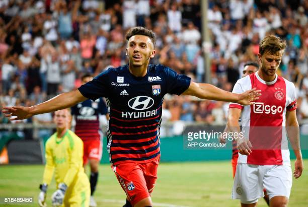 Lyon's forward Amine Gouiri celebrates after scoring a goal during a friendly football match between Olympique Lyonnais and Ajax Amsterdam on July 18...