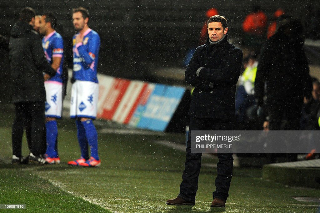 Lyon's French coach Remi Garde looks on during the French L1 football match between Lyon and Evian on January 18, 2013, at the Gerland stadium in Lyon.