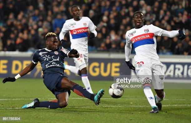 Lyon's French defender Ferland Mendy vies with Lyon's Brazilian defender Marcelo during the French League Cup round of 16 football match between...