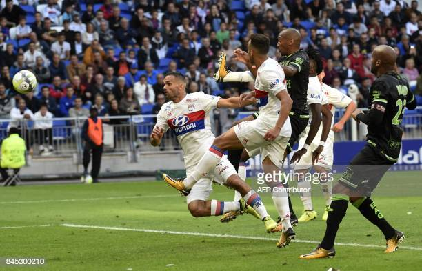 Lyon's French defender Jeremy Morel kicks the ball during the French L1 football match Lyon vs Guingamp , on September 10, 2017 at the Groupama...