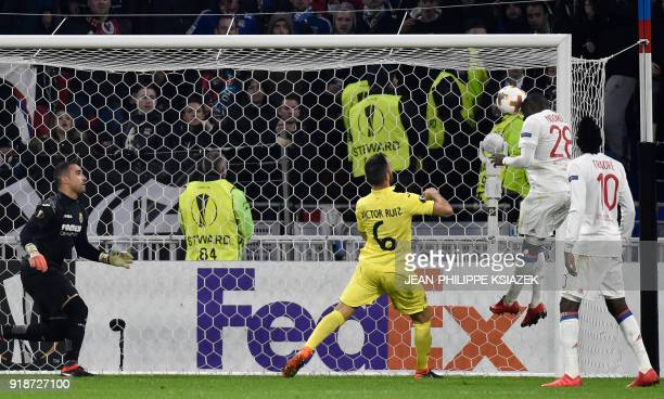 Lyon's French defender Tanguy Ndombele scores a goal during the Europa League football match Olympique Lyonnais vs Villarreal CF on February 15 at...