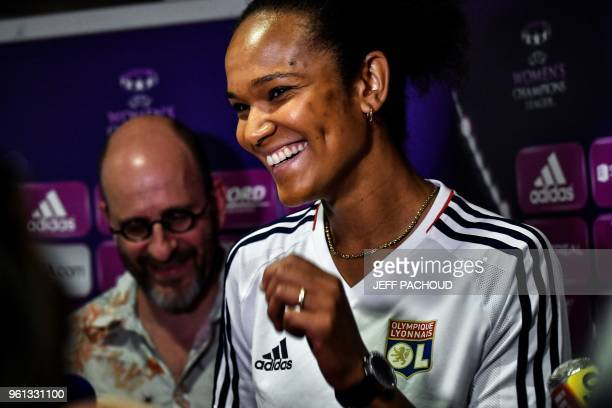 Lyon's French defender Wendie Renard answers journalists' questions on May 22 in Lyon, central-eastern France, ahead of the UEFA Women's Champions...