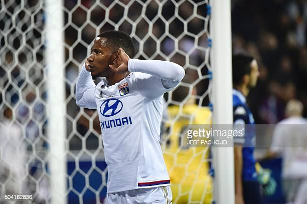 Lyon's French forward Claudio Beauvue celebrates after scoring during the French L1 football match Olympique Lyonnais vs Troyes on January 9 at the...