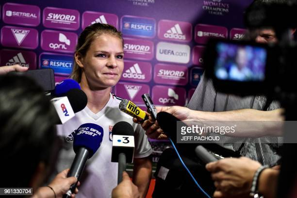 Lyon's French forward Eugenie Le Sommer answers journalists' questions on May 22 in Lyon centraleastern France ahead of the UEFA Women's Champions...
