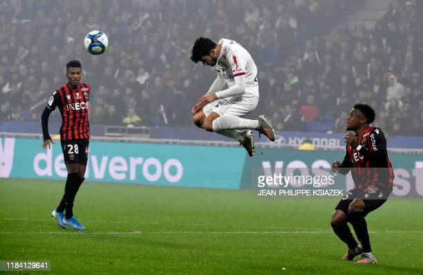 Lyon's French forward Martin Terrier heads the ball during the French L1 football match between Lyon and Nice on November 23 at the Groupama Stadium...