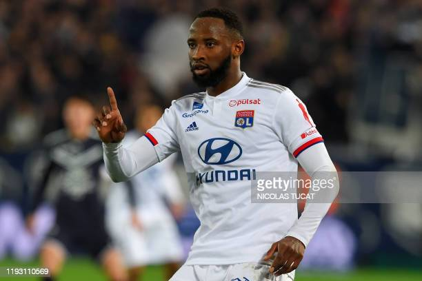 Lyon's French forward Moussa Dembele gestures during the French L1 football match between FC Girondins de Bordeaux and Olympique Lyonnais at the...