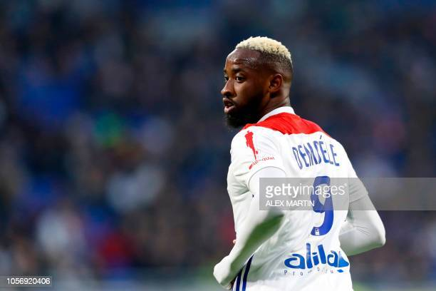 Lyon's French forward Moussa Dembele looks on during the French L1 football match between Olympique Lyonnais and Girondins de Bordeaux at the...