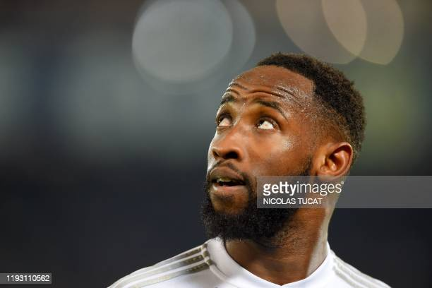 Lyon's French forward Moussa Dembele looks on during the French L1 football match between FC Girondins de Bordeaux and Olympique Lyonnais at the...