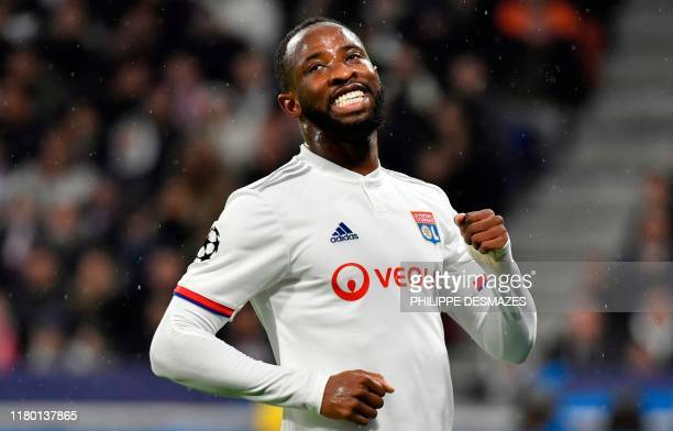 Lyon's French forward Moussa Dembele reacts during the UEFA Champions League Group G football match between Olympique Lyonnais and SL Benfica at the...