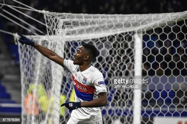 Lyon's French forward Myziane Maolida celebrates after scoring a goal during the UEFA Europa League football match Olympique Lyonnais vs Apollon...