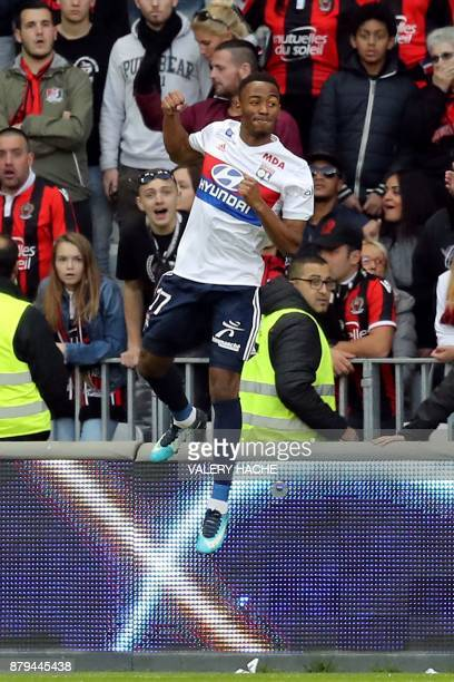 Lyon's French forward Myziane Maolida celebrates after scoring a goal during the French L1 football match Nice vs Lyon at The 'Allianz Riviera'...