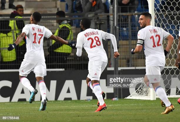 Lyon's French forward Myziane Maolida celebrates after scoring a goal during the French League Cup round of 16 football match between Montpellier and...