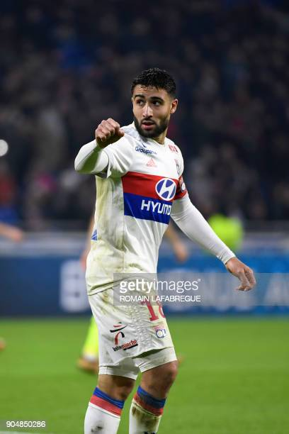 Lyon's French forward Nabil Fekir celebrates after scoring a goal during the French L1 football match between Lyon and Angers on January 14 in...