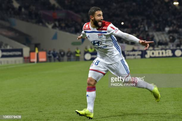 Lyon's French forward Nabil Fekir celebrates after scoring during the French L1 football match between Toulouse and Lyon on January 16 at the...