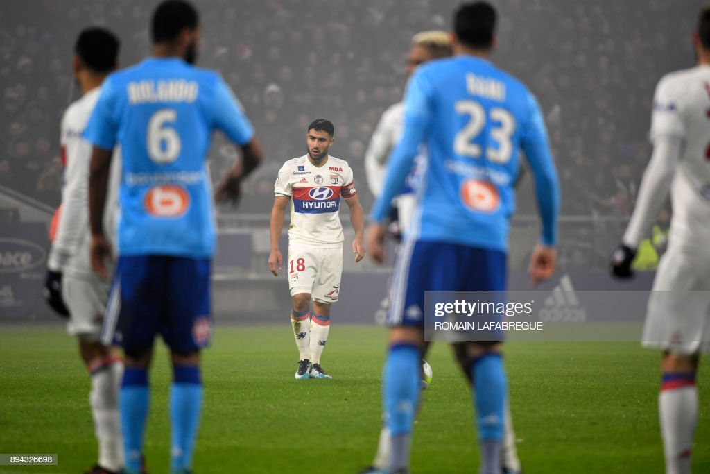 Lyon's French forward Nabil Fekir prepares to kick the ball during the French L1 football match between Lyon (OL) and Marseille (OM) on December 17, 2017, at the Groupama stadium in Decines-Charpieu near Lyon, central-eastern France. /