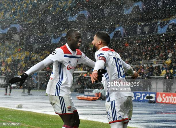 Lyon's French forward Nabil Fekir reacts after scoring during the UEFA Champions League Groupe F football match FC Shakhtar Donetsk and Olympique...