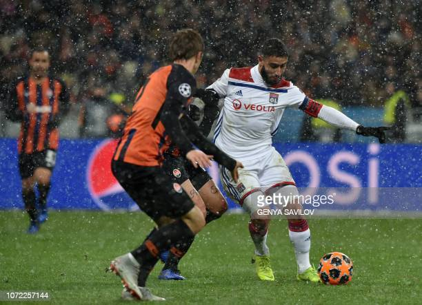 Lyon's French forward Nabil Fekir scores during the UEFA Champions League Groupe F football match FC Shakhtar Donetsk and Olympique Lyonnais on NSK...