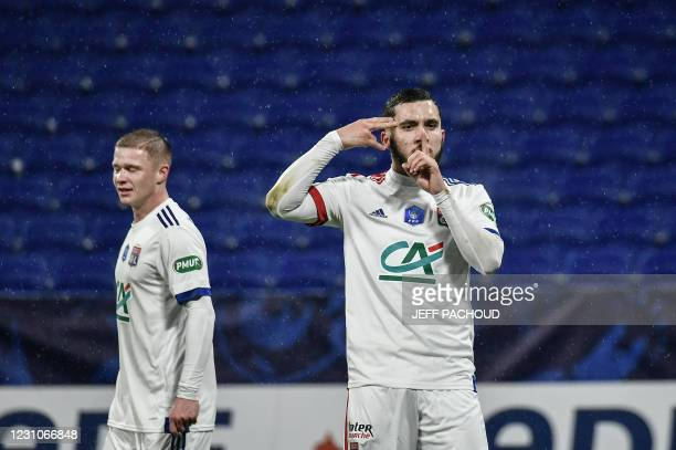 Lyon's French forward Rayan Cherki celebrates after scoring a goal during the French Cup football match, Olympique Lyonnais and AC Ajaccio on...