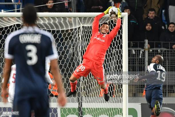 Lyon's French goalkeeper Mathieu Gorgelin stop the ball during the French League Cup round of 16 football match between Montpellier and Lyon at the...