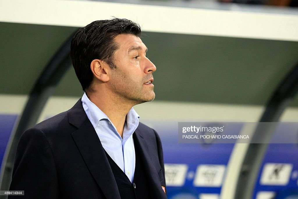 Lyon's French head coach Hubert Fournier stands before the French L1 football match Bastia (SCB) against Lyon (OL) on November 22, 2014 in the Armand Cesari stadium in Bastia, French Mediterranean island of Corsica.