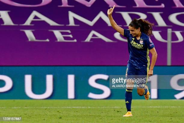 Lyon's French midfielder Amel Majri celebrates her goal during the UEFA Women's Champions League quarter-final football match between Lyon and Bayern...