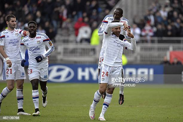 Lyon's French midfielder Corentin Tolisso celebrates after scoring during the French L1 football match Olympique Lyonnais vs FC Metz on January 25 at...